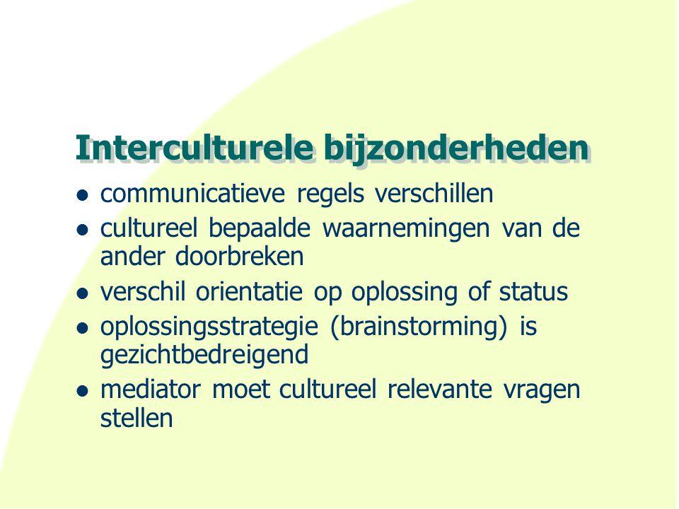 Interculturele bijzonderheden communicatieve regels verschillen cultureel bepaalde waarnemingen van de ander doorbreken verschil orientatie op oplossi