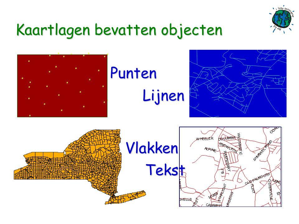 Hoe werkt een GIS n Gegevens worden opgeslagen in een verzameling kaartlagen: