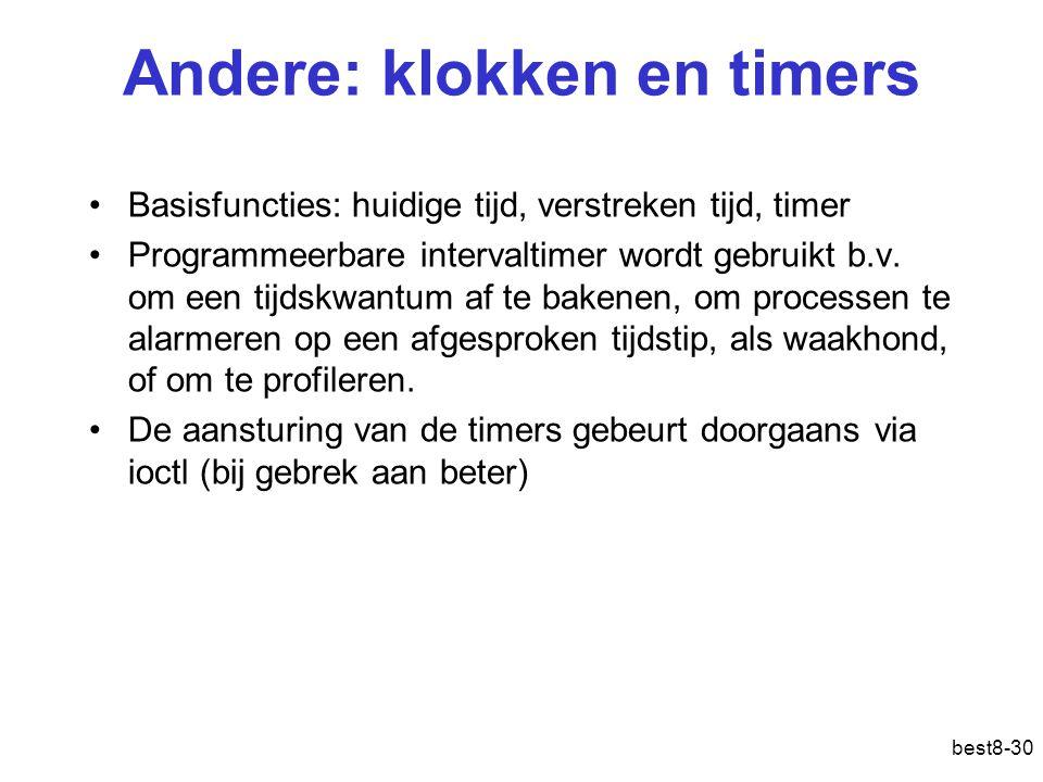 best8-30 Andere: klokken en timers Basisfuncties: huidige tijd, verstreken tijd, timer Programmeerbare intervaltimer wordt gebruikt b.v. om een tijdsk