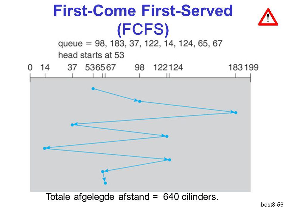 best8-56 First-Come First-Served ( FCFS ) Totale afgelegde afstand = 640 cilinders.