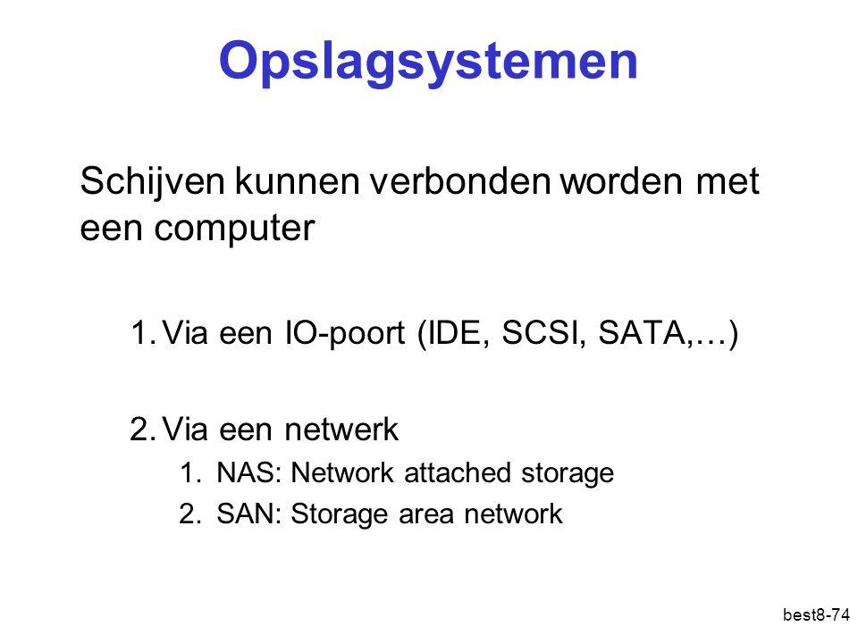 best8-74 Opslagsystemen Schijven kunnen verbonden worden met een computer 1.Via een IO-poort (IDE, SCSI, SATA,…) 2.Via een netwerk 1.NAS: Network atta