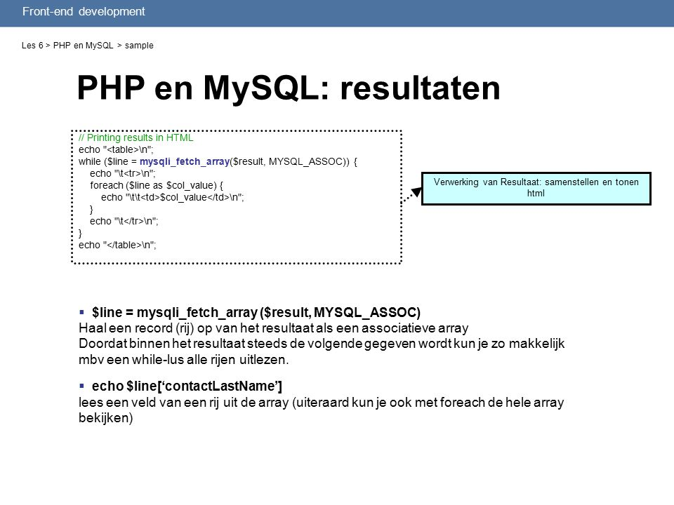 Front-end development PHP en MySQL: resultaten Les 6 > PHP en MySQL > sample // Printing results in HTML echo