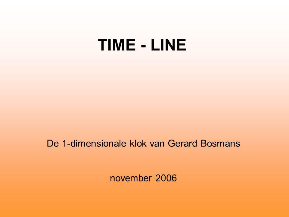Time-Line, G.Bosmans DESIGN De Time-Line is 1-dimensionaal.