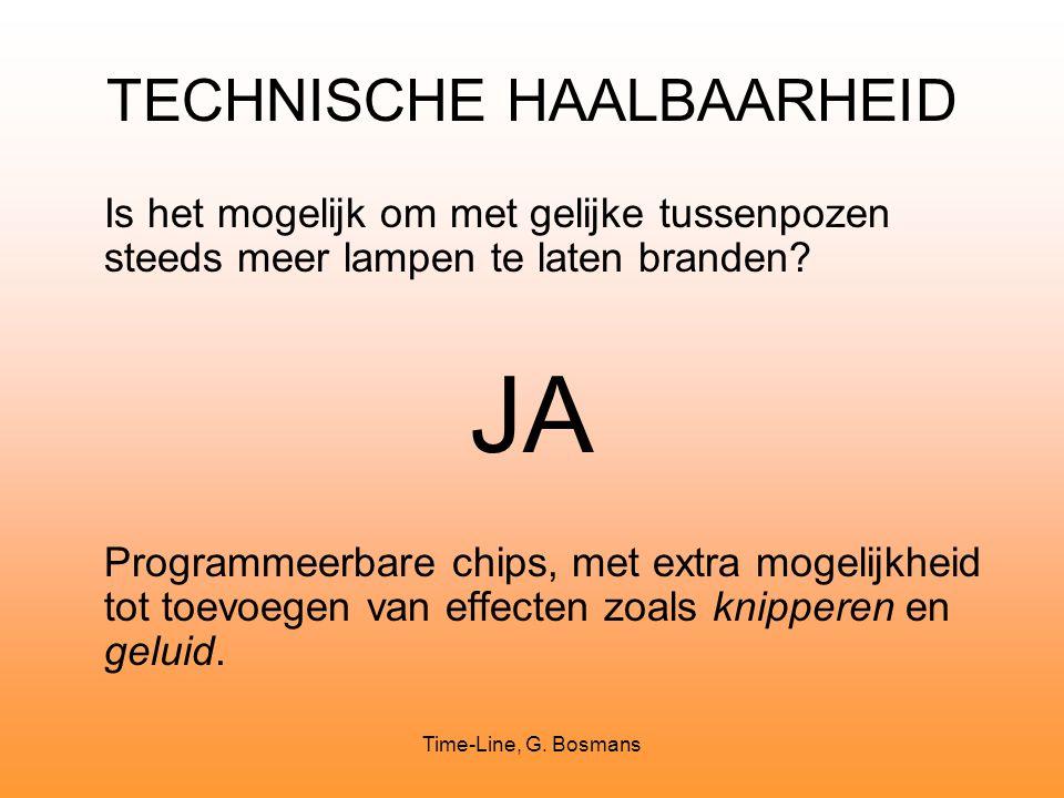 Time-Line, G. Bosmans TECHNISCHE HAALBAARHEID Is het mogelijk om met gelijke tussenpozen steeds meer lampen te laten branden? JA Programmeerbare chips