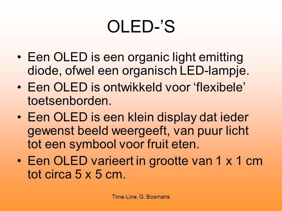 Time-Line, G. Bosmans OLED-'S Een OLED is een organic light emitting diode, ofwel een organisch LED-lampje. Een OLED is ontwikkeld voor 'flexibele' to