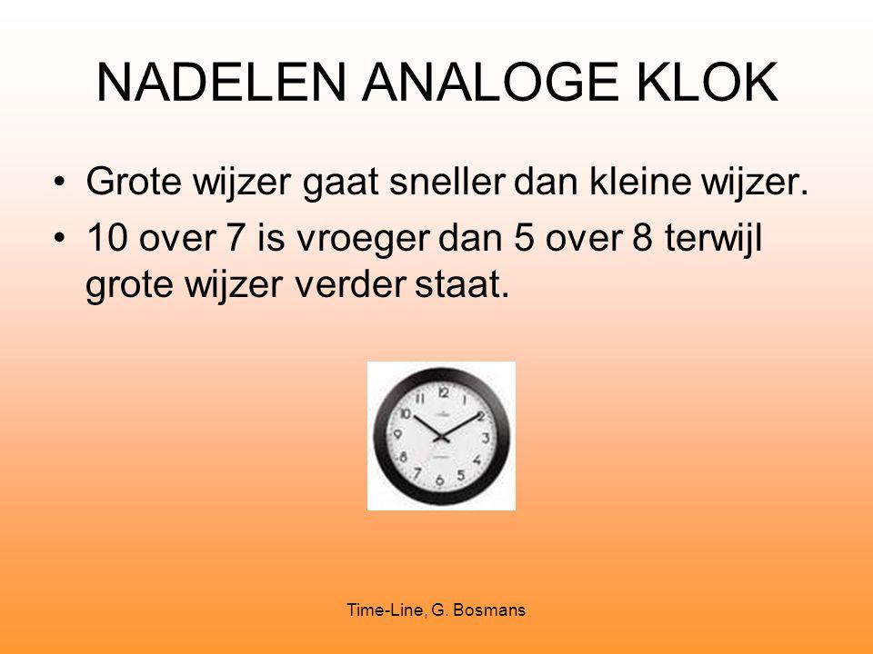 Time-Line, G. Bosmans NADELEN ANALOGE KLOK Grote wijzer gaat sneller dan kleine wijzer. 10 over 7 is vroeger dan 5 over 8 terwijl grote wijzer verder