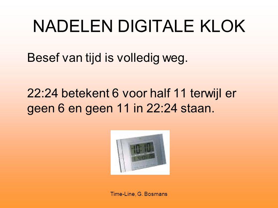 Time-Line, G. Bosmans NADELEN DIGITALE KLOK Besef van tijd is volledig weg. 22:24 betekent 6 voor half 11 terwijl er geen 6 en geen 11 in 22:24 staan.