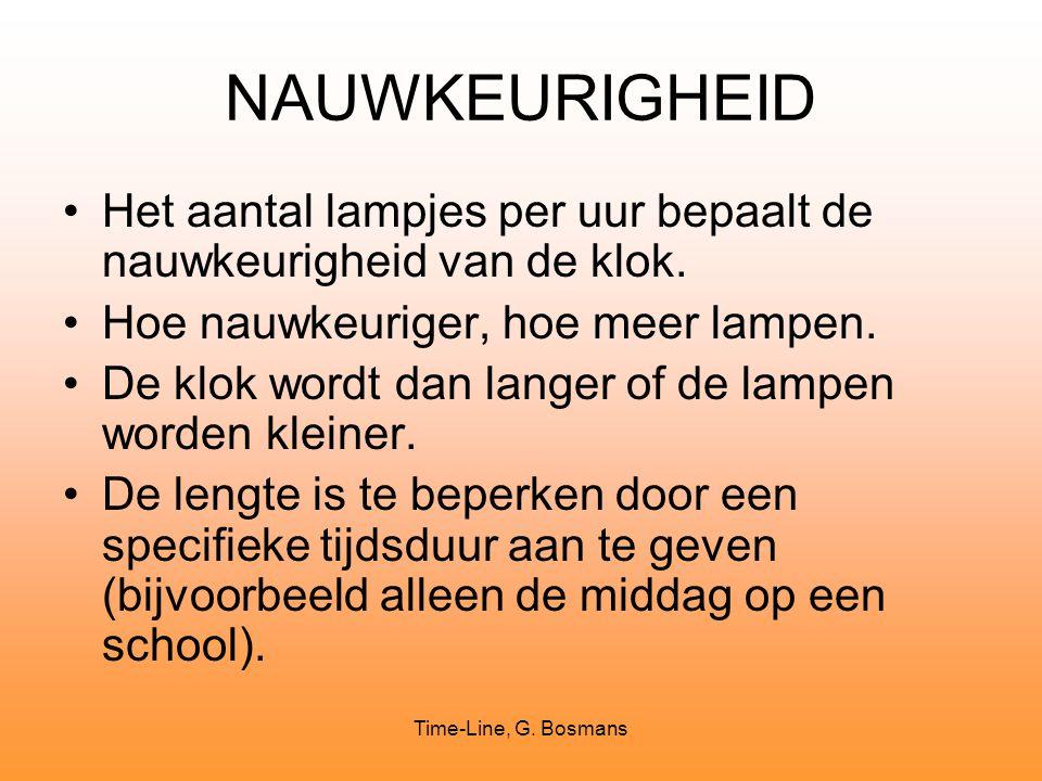 Time-Line, G. Bosmans NAUWKEURIGHEID Het aantal lampjes per uur bepaalt de nauwkeurigheid van de klok. Hoe nauwkeuriger, hoe meer lampen. De klok word