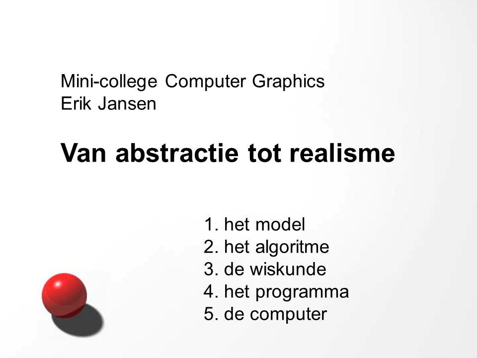 Mini-college Computer Graphics Erik Jansen Van abstractie tot realisme 1. het model 2. het algoritme 3. de wiskunde 4. het programma 5. de computer