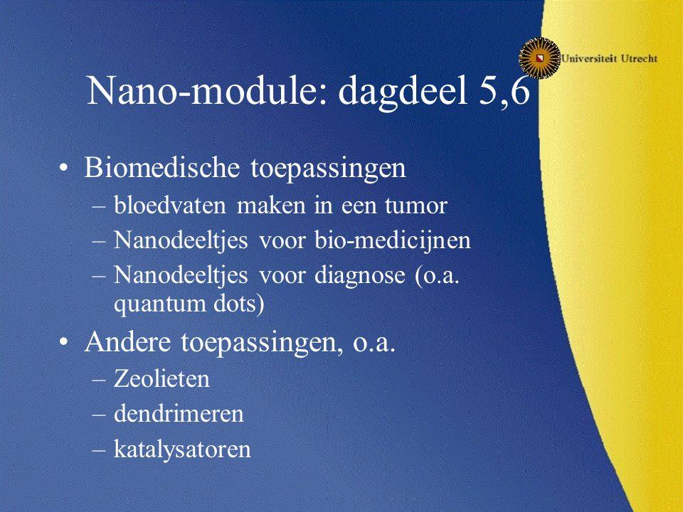 Nano-module: dagdeel 5,6 Biomedische toepassingen –bloedvaten maken in een tumor –Nanodeeltjes voor bio-medicijnen –Nanodeeltjes voor diagnose (o.a.