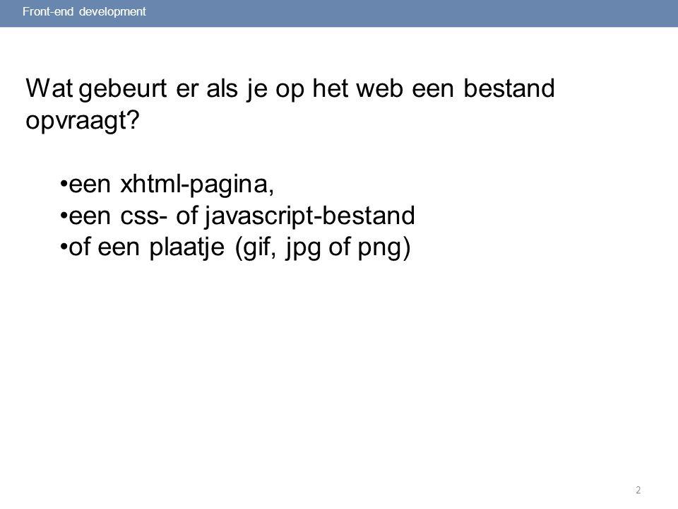 2 Request – response model : Front-end development Request: Webserver, mag ik van jou het document 'bladzijde.html' .