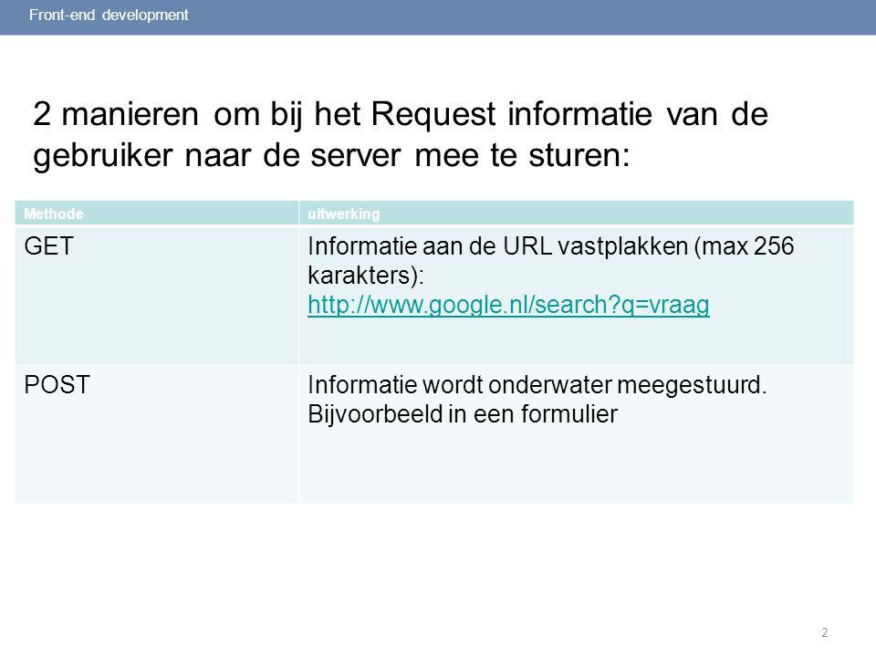 2 User input (selectbox)selectbox Front-end development XHTML Ik woon in: Rotterdam Spijkernisse Capelle aan de IJssel Schiedam