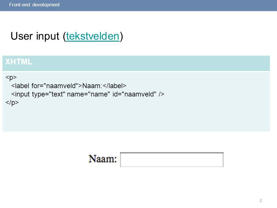 2 User input (wachtwoordveld)wachtwoordveld Front-end development XHTML Wachtwoord: