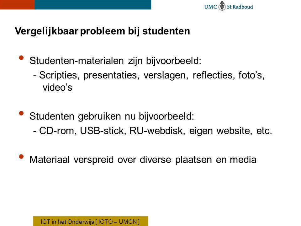 Vergelijkbaar probleem bij studenten Studenten-materialen zijn bijvoorbeeld: - Scripties, presentaties, verslagen, reflecties, foto's, video's Student