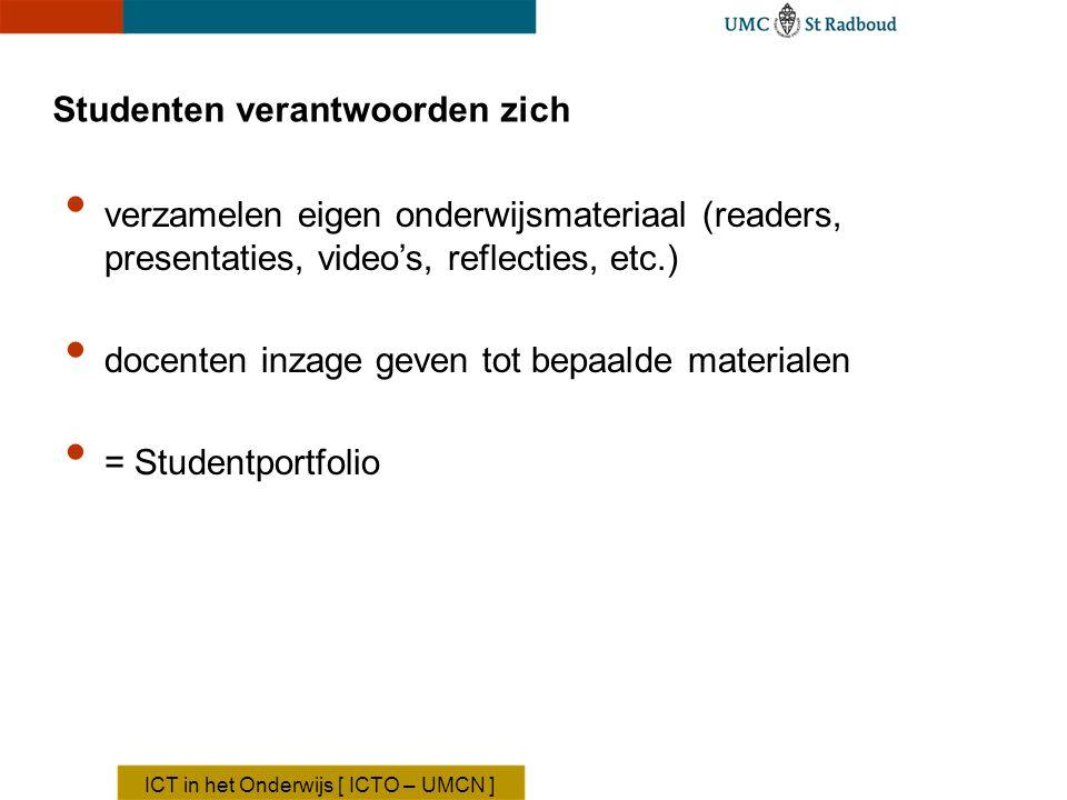 Studenten verantwoorden zich verzamelen eigen onderwijsmateriaal (readers, presentaties, video's, reflecties, etc.) docenten inzage geven tot bepaalde