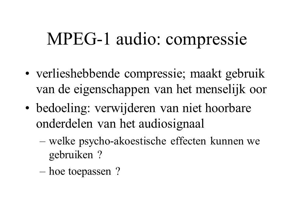 MPEG-1 audio: compressie verlieshebbende compressie; maakt gebruik van de eigenschappen van het menselijk oor bedoeling: verwijderen van niet hoorbare onderdelen van het audiosignaal –welke psycho-akoestische effecten kunnen we gebruiken .