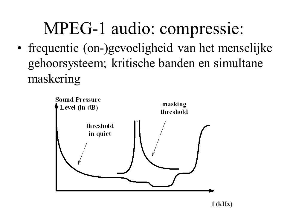 MPEG-1 audio: compressie: frequentie (on-)gevoeligheid van het menselijke gehoorsysteem; kritische banden en simultane maskering