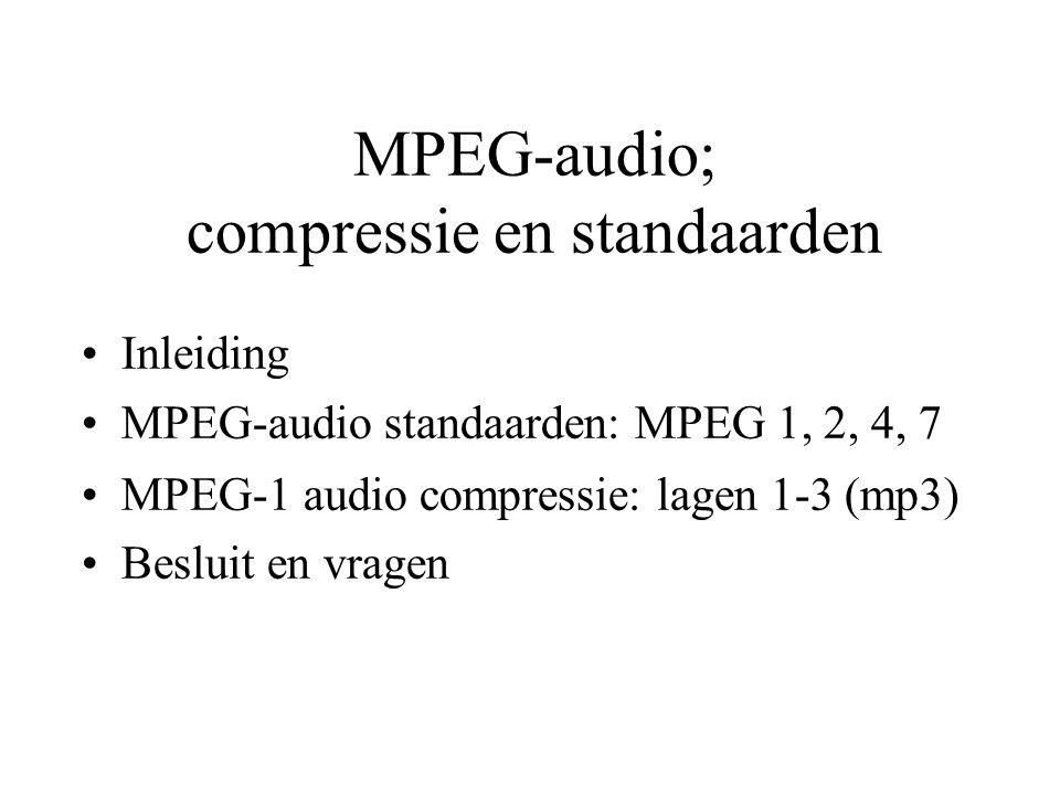 MPEG-audio; compressie en standaarden Inleiding MPEG-audio standaarden: MPEG 1, 2, 4, 7 MPEG-1 audio compressie: lagen 1-3 (mp3) Besluit en vragen