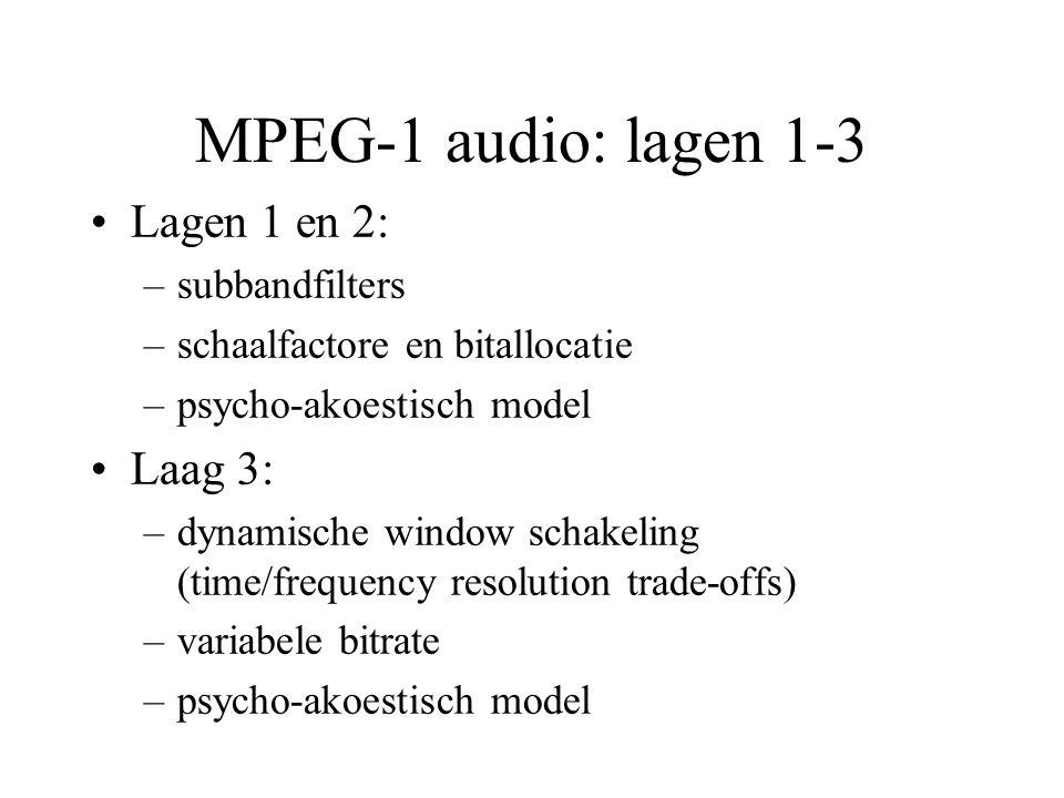 MPEG-1 audio: lagen 1-3 Lagen 1 en 2: –subbandfilters –schaalfactore en bitallocatie –psycho-akoestisch model Laag 3: –dynamische window schakeling (time/frequency resolution trade-offs) –variabele bitrate –psycho-akoestisch model