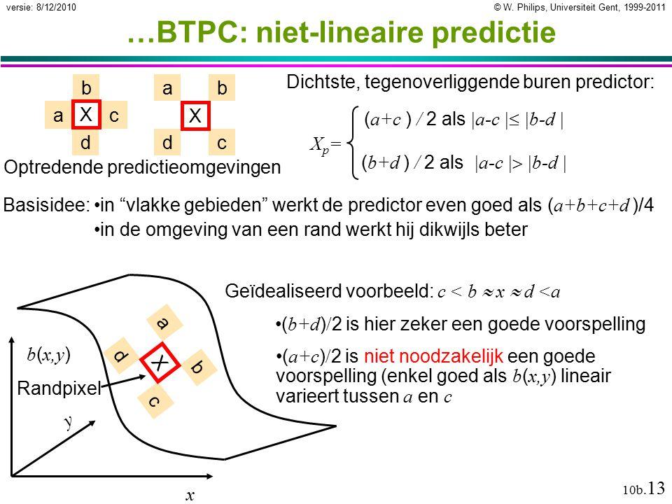 © W. Philips, Universiteit Gent, 1999-2011versie: 8/12/2010 10b. 13 …BTPC: niet-lineaire predictie Dichtste, tegenoverliggende buren predictor: ac d b