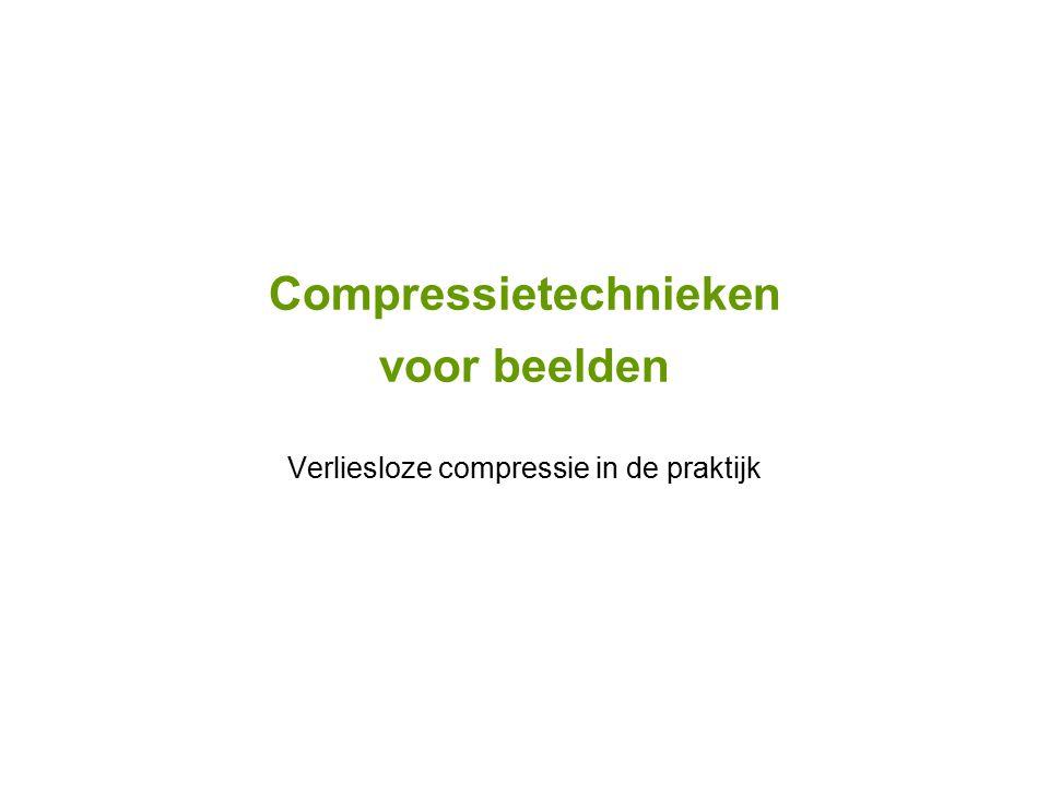 Compressietechnieken voor beelden Verliesloze compressie in de praktijk