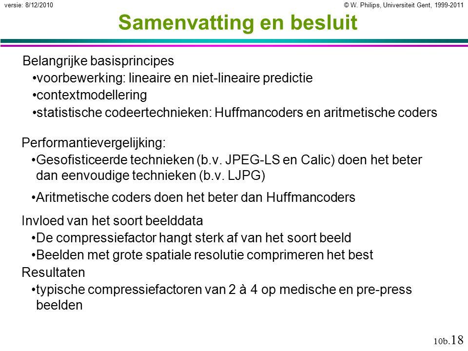 © W. Philips, Universiteit Gent, 1999-2011versie: 8/12/2010 10b. 18 Samenvatting en besluit Performantievergelijking: Gesofisticeerde technieken (b.v.