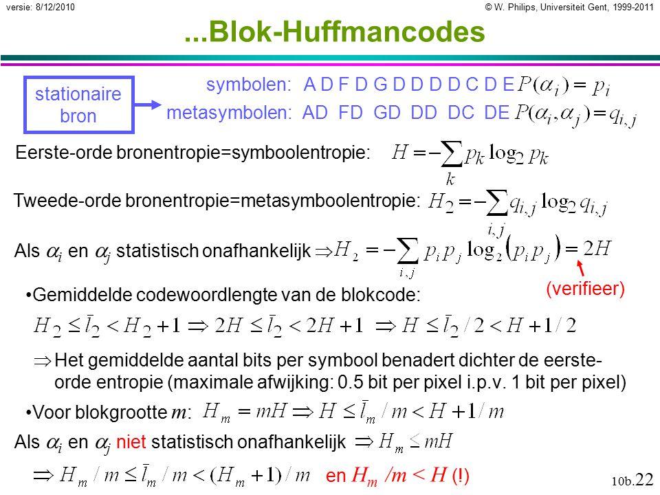 © W. Philips, Universiteit Gent, 1999-2011versie: 8/12/2010 10b. 22...Blok-Huffmancodes  Het gemiddelde aantal bits per symbool benadert dichter de e