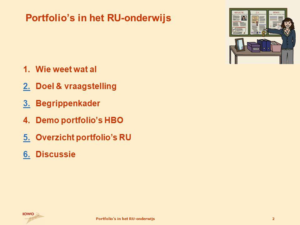 Portfolio s in het RU-onderwijs2 Portfolio's in het RU-onderwijs 1.Wie weet wat al 2.2.Doel & vraagstelling 3.3.Begrippenkader 4.Demo portfolio's HBO 5.5.Overzicht portfolio's RU 6.6.Discussie