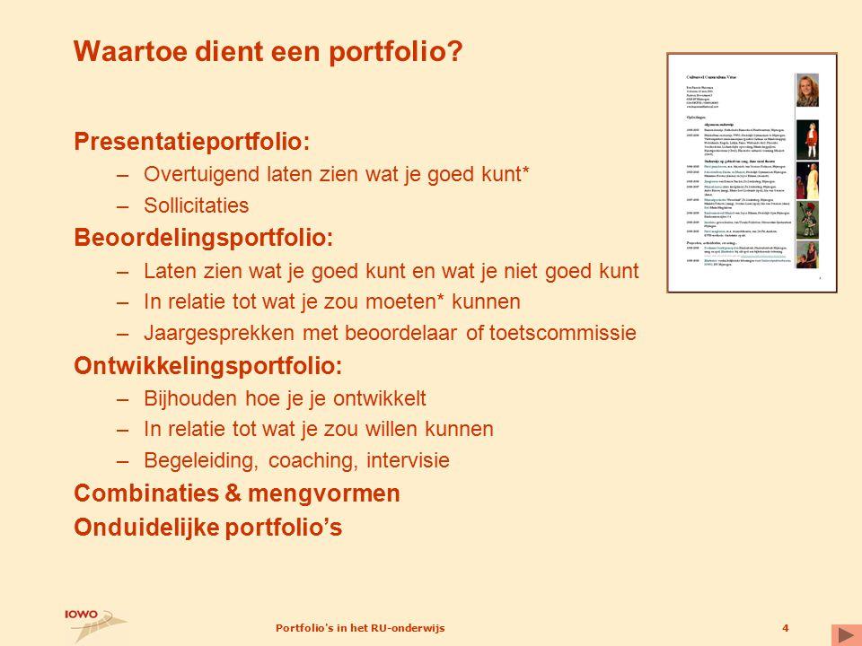 Portfolio's in het RU-onderwijs4 Waartoe dient een portfolio? Presentatieportfolio: –Overtuigend laten zien wat je goed kunt* –Sollicitaties Beoordeli