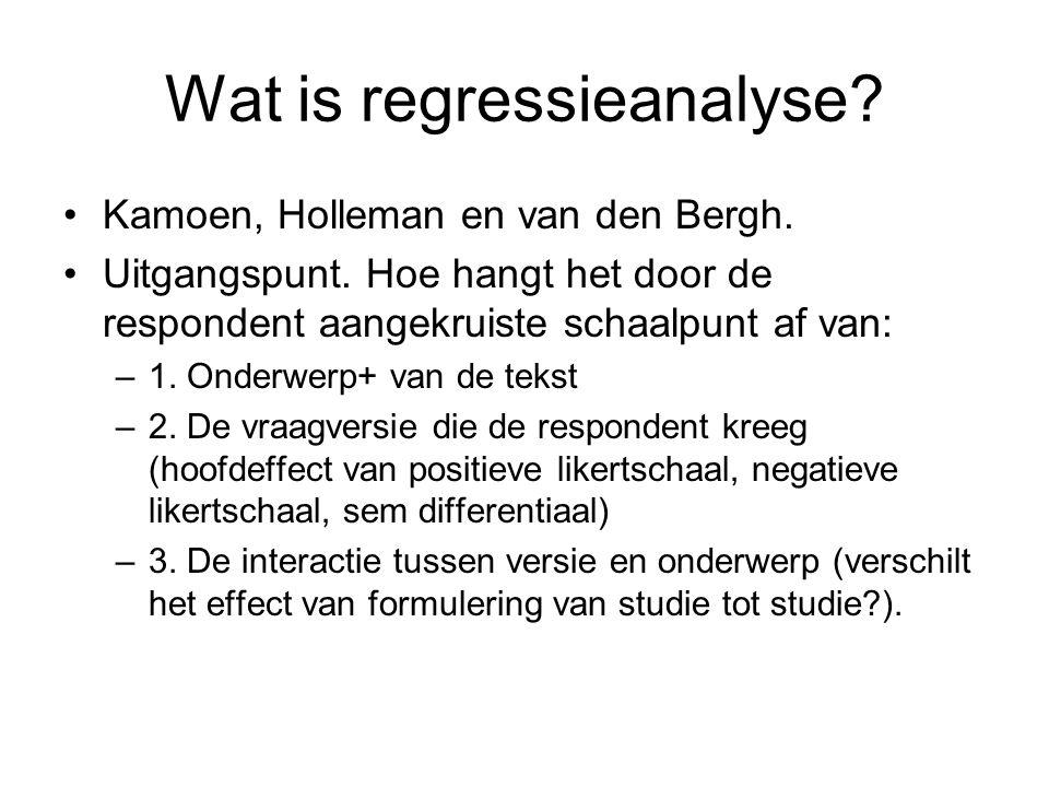 Wat is regressieanalyse? Kamoen, Holleman en van den Bergh. Uitgangspunt. Hoe hangt het door de respondent aangekruiste schaalpunt af van: –1. Onderwe