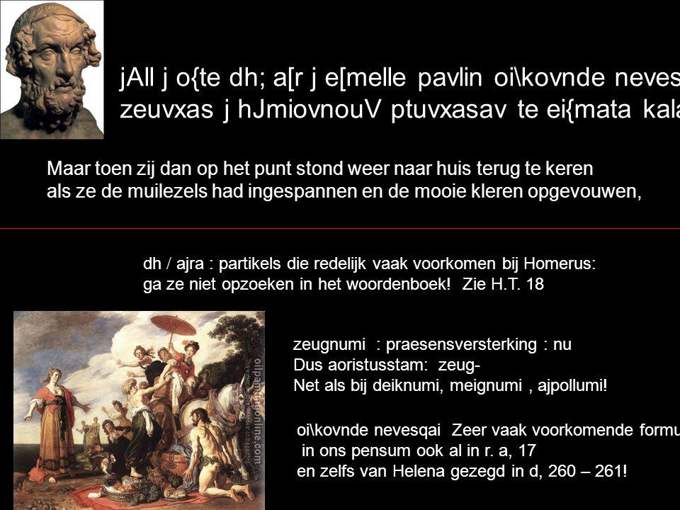 aujta;r oJ bousi; metevrcetai h] oji?essin hje; met j ajgrotevraV ejlavfouV` kevletai dev eJ gasth;r mhvlwn peirhvsonta kai; ejV pukino;n dovmon ejlqei:n` maar hij stort zich op de runderen of schapen of hij gaat de wilde herten achterna; en zijn maag beveelt hem om zelfs naar de stevige stal te gaan om een aanval te wagen op het kleinvee; peirhswn : : participium futurum: lett.: een aanval zullende wagen op.....