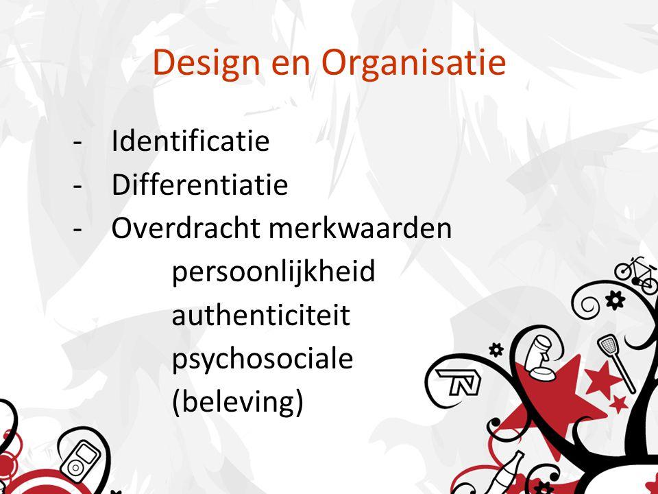 Design en Organisatie -Identificatie -Differentiatie -Overdracht merkwaarden persoonlijkheid authenticiteit psychosociale (beleving)