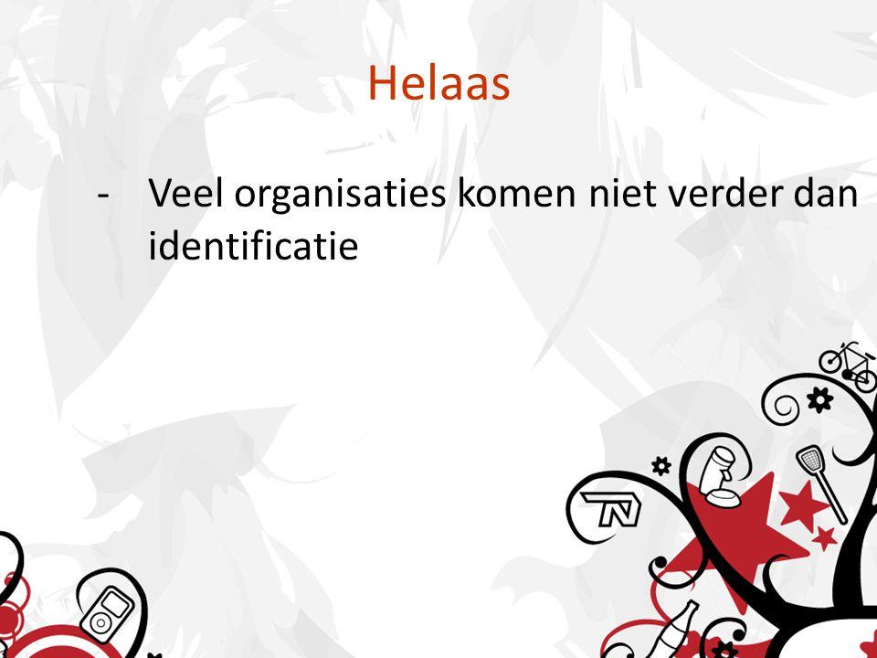 Helaas -Veel organisaties komen niet verder dan identificatie