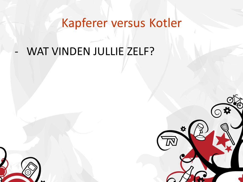 Kapferer versus Kotler - WAT VINDEN JULLIE ZELF