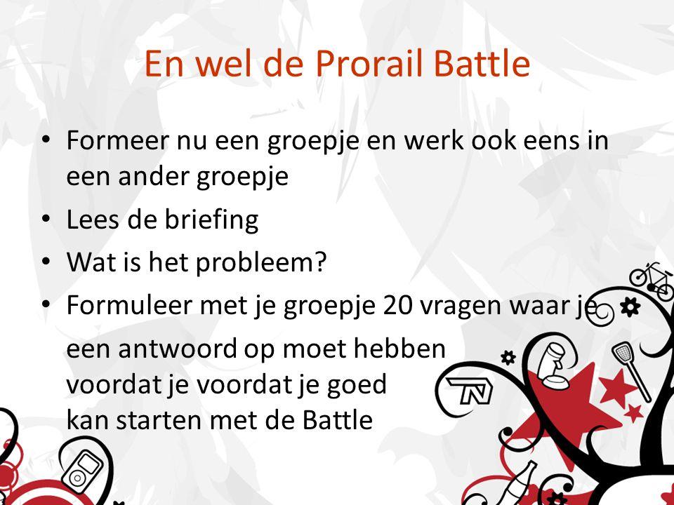 En wel de Prorail Battle Formeer nu een groepje en werk ook eens in een ander groepje Lees de briefing Wat is het probleem.