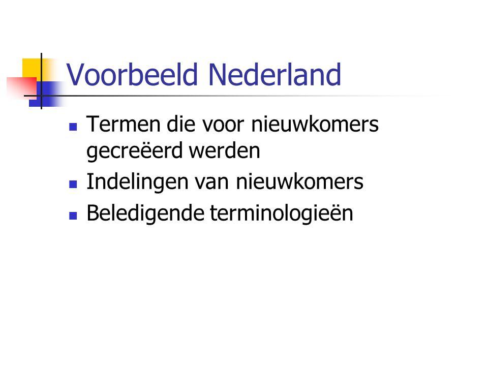 Voorbeeld Nederland Termen die voor nieuwkomers gecreëerd werden Indelingen van nieuwkomers Beledigende terminologieën