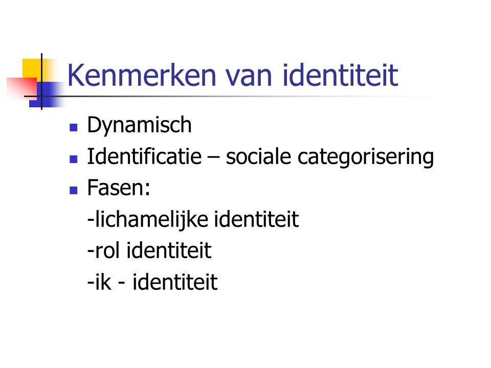 Kenmerken van identiteit Dynamisch Identificatie – sociale categorisering Fasen: -lichamelijke identiteit -rol identiteit -ik - identiteit