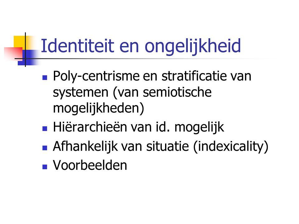 Identiteit en ongelijkheid Poly-centrisme en stratificatie van systemen (van semiotische mogelijkheden) Hiërarchieën van id.