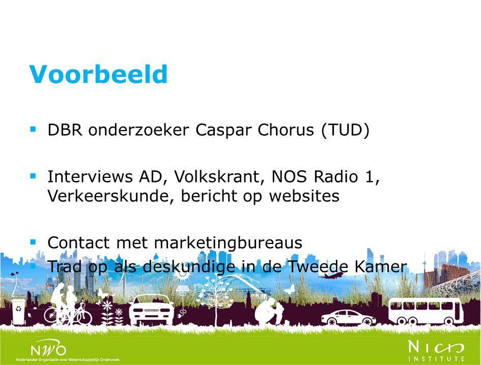  DBR onderzoeker Caspar Chorus (TUD)  Interviews AD, Volkskrant, NOS Radio 1, Verkeerskunde, bericht op websites  Contact met marketingbureaus  Trad op als deskundige in de Tweede Kamer Voorbeeld