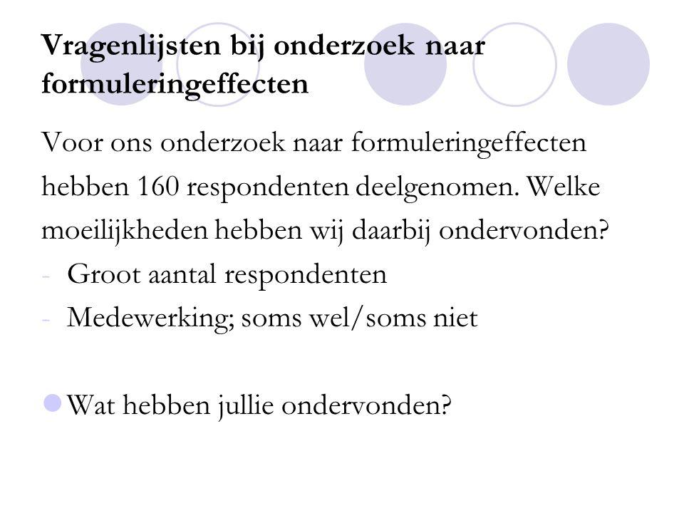 Vragenlijsten bij onderzoek naar formuleringeffecten Voor ons onderzoek naar formuleringeffecten hebben 160 respondenten deelgenomen.