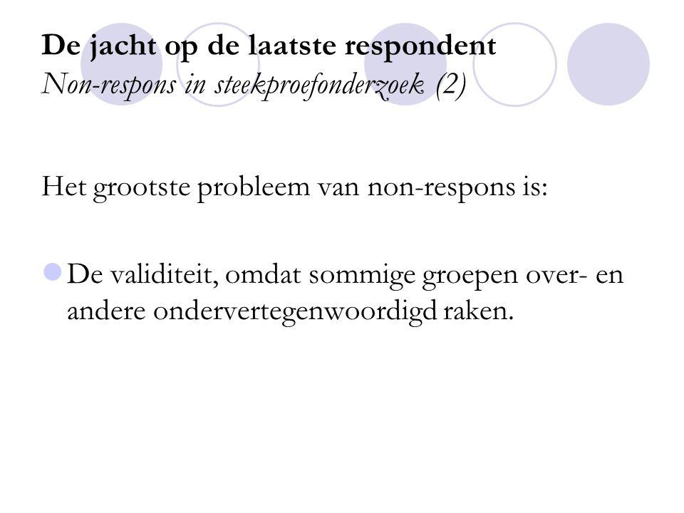 De jacht op de laatste respondent Non-respons in steekproefonderzoek (3) Diepgaande analyse van non-respons bij het Aanvullend Voorzieningengebruikonderzoek 1999 van het SCP.