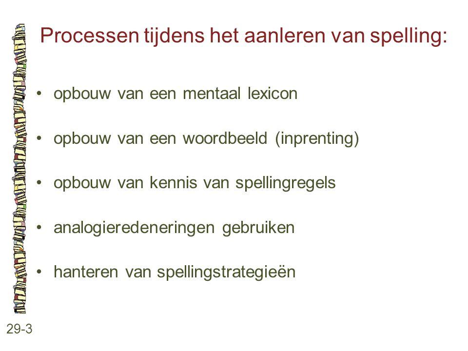Processen tijdens het aanleren van spelling: 29-3 opbouw van een mentaal lexicon opbouw van een woordbeeld (inprenting) opbouw van kennis van spelling