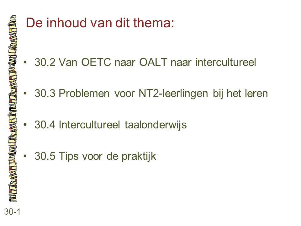 De inhoud van dit thema: 30-1 30.2 Van OETC naar OALT naar intercultureel 30.3 Problemen voor NT2-leerlingen bij het leren 30.4 Intercultureel taalond