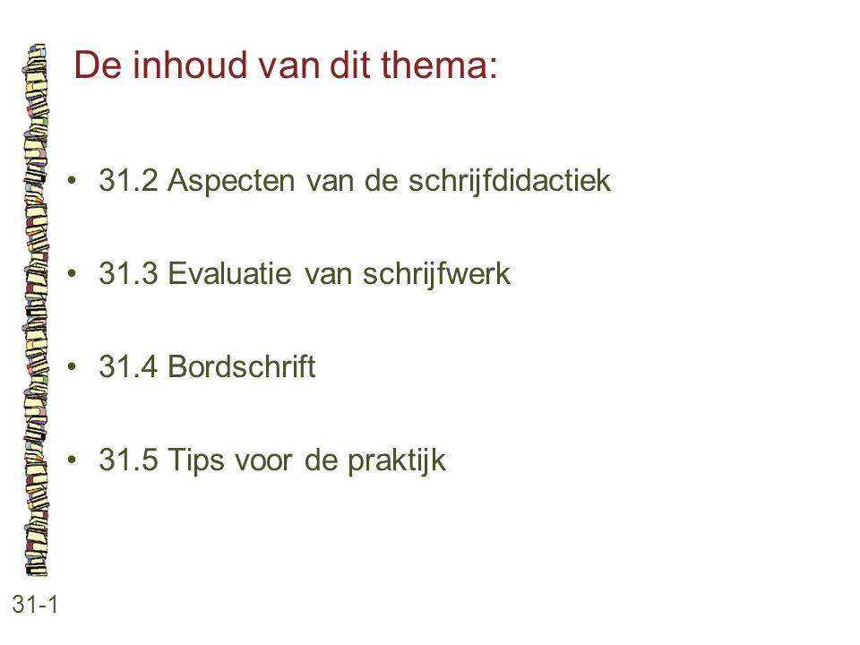 De inhoud van dit thema: 31-1 31.2 Aspecten van de schrijfdidactiek 31.3 Evaluatie van schrijfwerk 31.4 Bordschrift 31.5 Tips voor de praktijk
