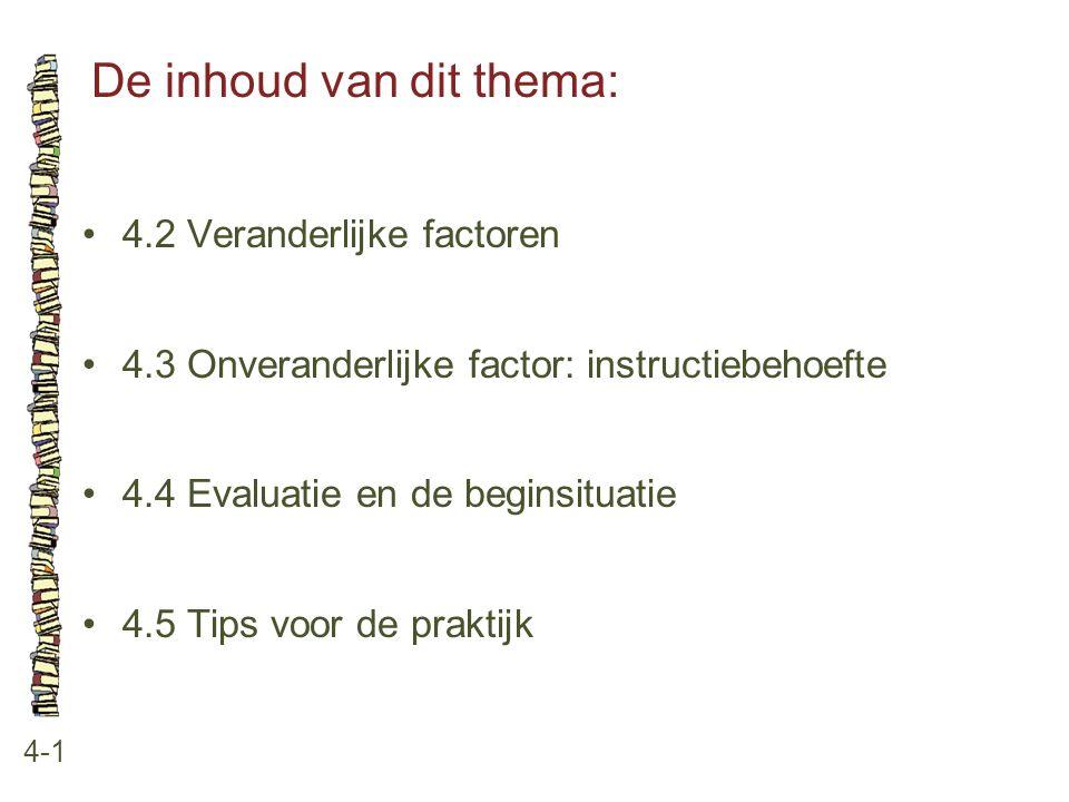 De inhoud van dit thema: 4-1 4.2 Veranderlijke factoren 4.3 Onveranderlijke factor: instructiebehoefte 4.4 Evaluatie en de beginsituatie 4.5 Tips voor