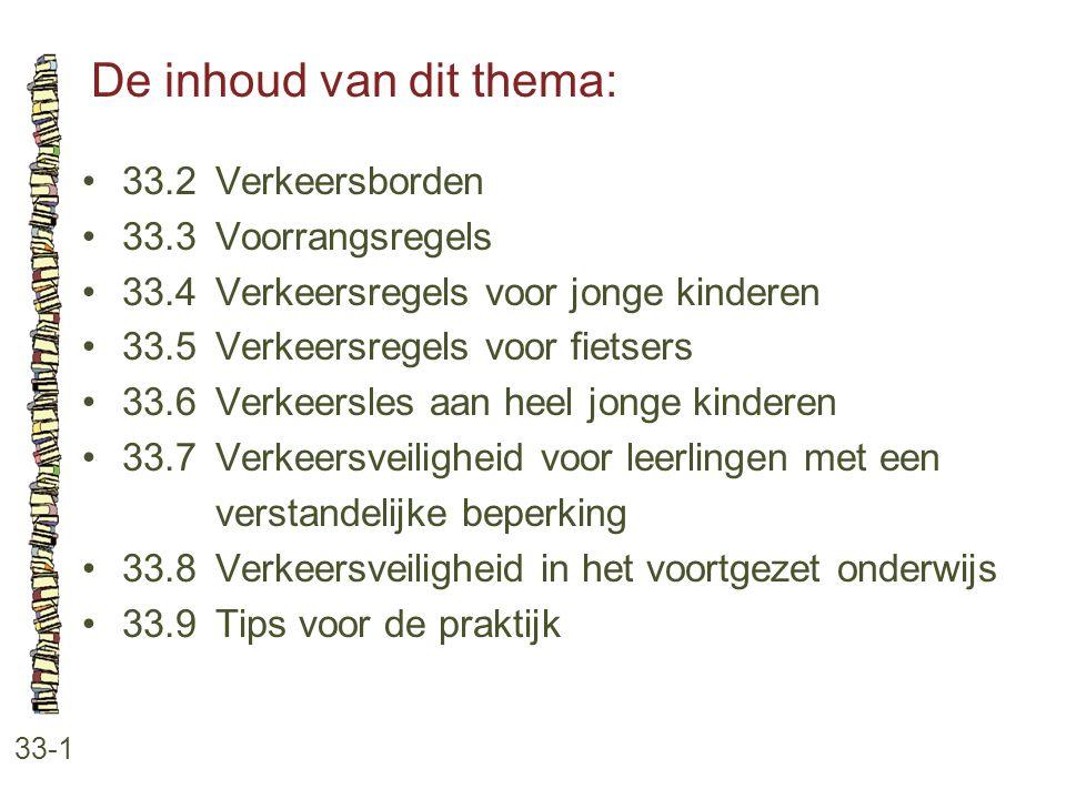 De inhoud van dit thema: 33-1 33.2 Verkeersborden 33.3 Voorrangsregels 33.4 Verkeersregels voor jonge kinderen 33.5 Verkeersregels voor fietsers 33.6