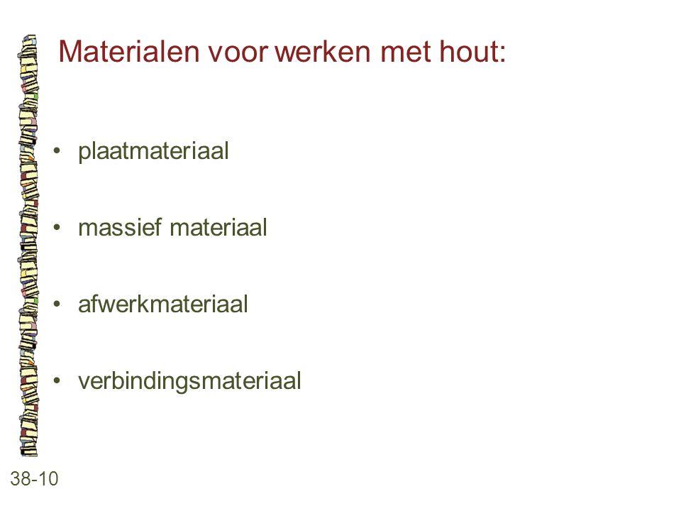 Materialen voor werken met hout: 38-10 plaatmateriaal massief materiaal afwerkmateriaal verbindingsmateriaal