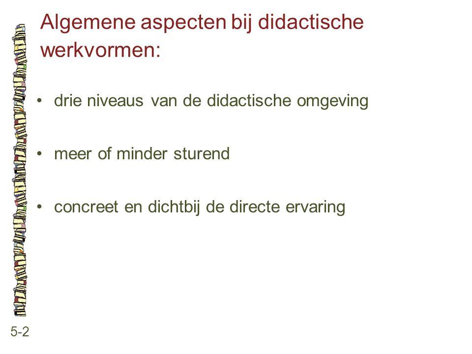 Algemene aspecten bij didactische werkvormen: 5-2 drie niveaus van de didactische omgeving meer of minder sturend concreet en dichtbij de directe erva