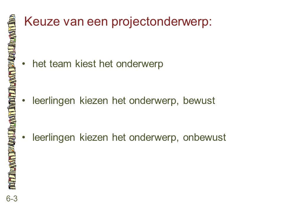 Keuze van een projectonderwerp: 6-3 het team kiest het onderwerp leerlingen kiezen het onderwerp, bewust leerlingen kiezen het onderwerp, onbewust
