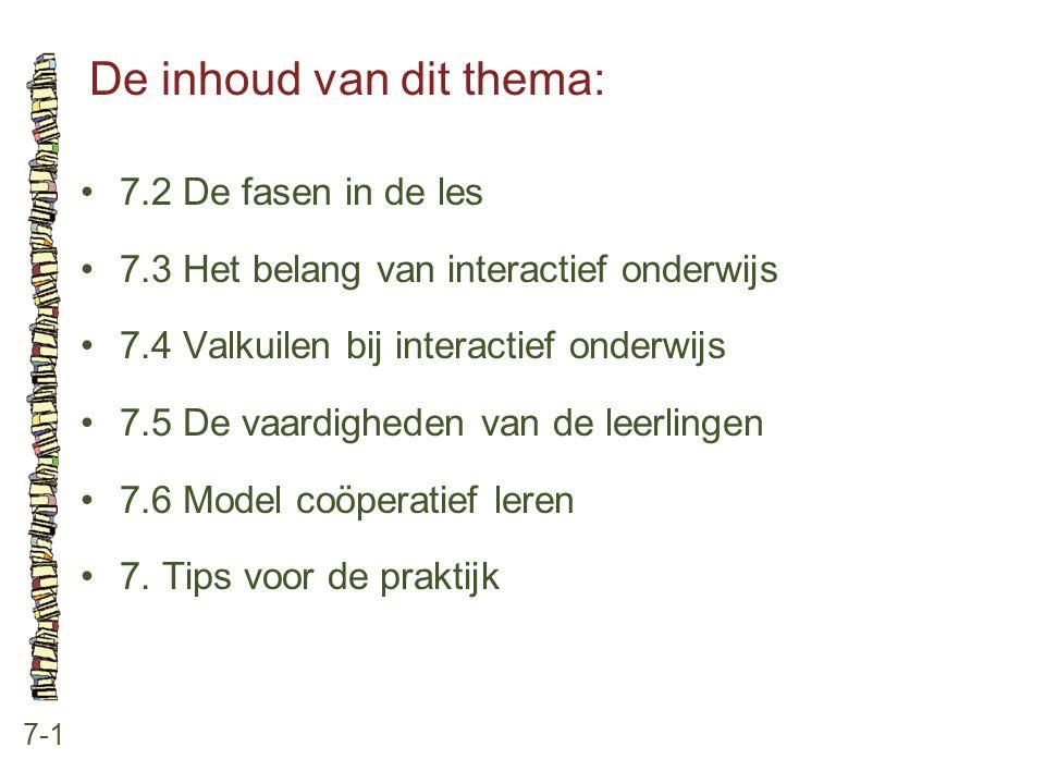 De inhoud van dit thema: 7-1 7.2 De fasen in de les 7.3 Het belang van interactief onderwijs 7.4 Valkuilen bij interactief onderwijs 7.5 De vaardighed